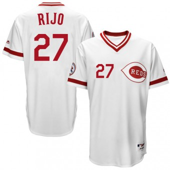 Youth Replica Cincinnati Reds Jose Rijo Majestic Cool Base Turn Back the Clock Team Jersey - White